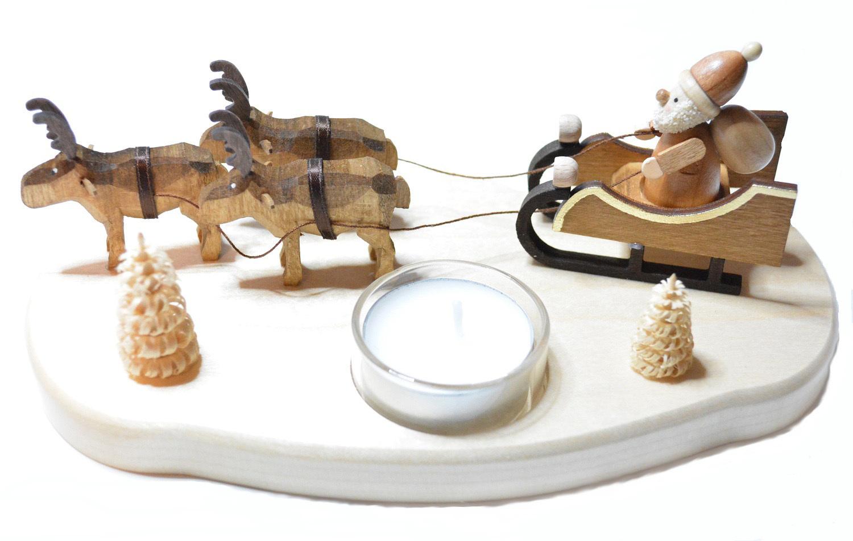 teelichthalter weihnachtsmann mit rentieren natur stil. Black Bedroom Furniture Sets. Home Design Ideas